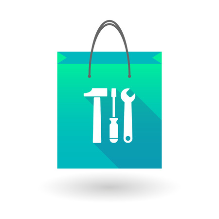 illustraiton: Illustraiton of a blue shopping bag icon with a  tool set Illustration