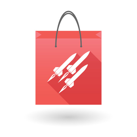 shopping bag icon: Illustration of a red shopping bag icon with missiles