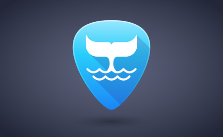 guitar pick: Illustration of a blue guitar pick icon with a whale tail