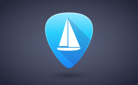 pick: Illustration of a blue guitar pick icon with a ship