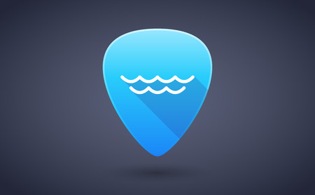 guitar pick: Illustration of a blue guitar pick icon with a water sign