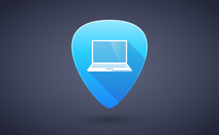 guitar pick: Illustration of a blue guitar pick icon with a laptop