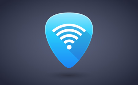 guitar pick: Illustration of a blue guitar pick icon with a radio signal sign