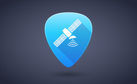 guitar pick: Illustration of a blue guitar pick icon with a satellite