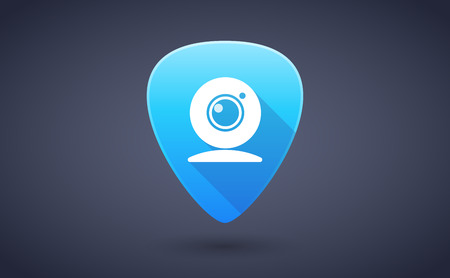 guitar pick: Illustration of a blue guitar pick icon with a web cam Illustration