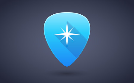 pick: Illustration of a blue guitar pick icon with a star