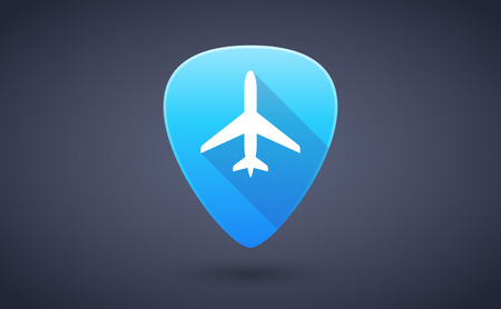 guitar pick: Illustration of a blue guitar pick icon with a plane