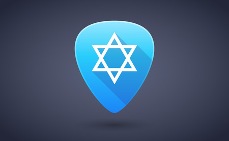 jews: Illustration of a blue guitar pick icon with a David star Illustration