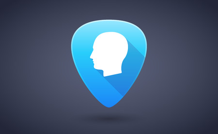 guitar pick: Illustration of a blue guitar pick icon with a male head