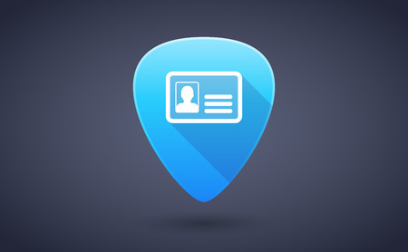 guitar pick: Illustration of a blue guitar pick icon with an id card Illustration