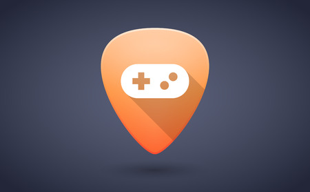 guitar pick: Illustration of an orange guitar pick icon with a game pad