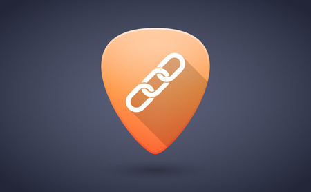 guitar pick: Illustration of an orange guitar pick icon with a chain