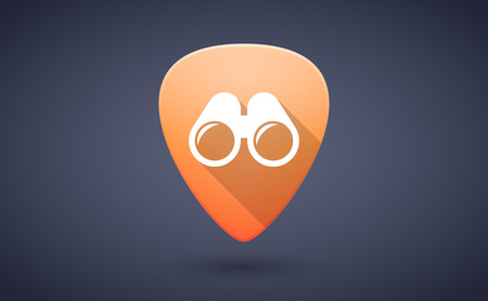 guitar pick: Illustration of an orange guitar pick icon with a binoculars