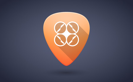 guitar pick: Illustration of an orange guitar pick icon with a drone Illustration