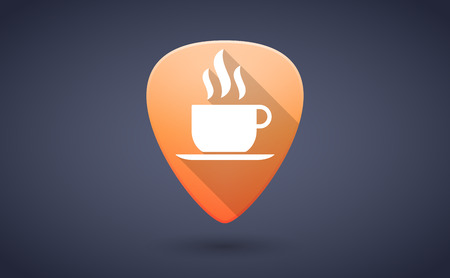 guitar pick: Illustration of an orange guitar pick icon with a coffee cup