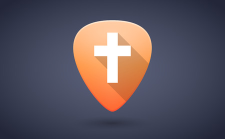guitar pick: Illustration of an orange guitar pick icon with a cross