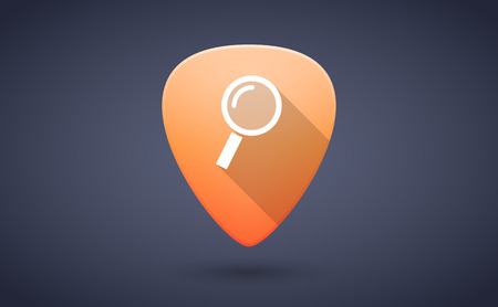 guitar pick: Illustration of an orange guitar pick icon with a magnifier