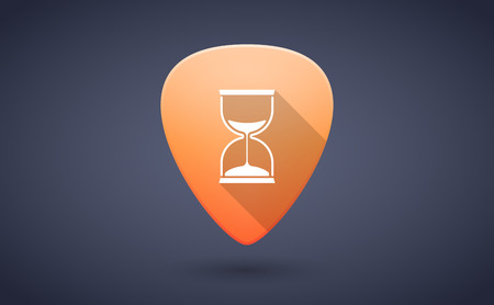 guitar pick: Illustration of an orange guitar pick icon with a sand clock