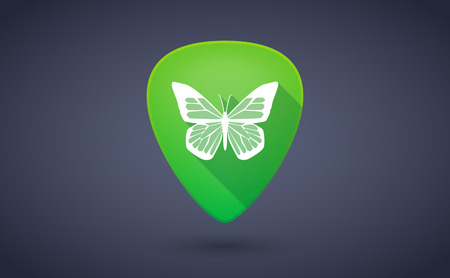 illustraiton: Illustraiton of a green guitar pick icon with a butterfly