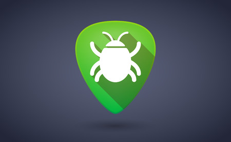 pick: Illustraiton of a green guitar pick icon with a bug