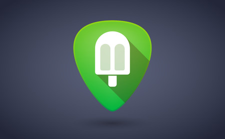 plectrum: Illustraiton of a green guitar pick icon with an ice cream
