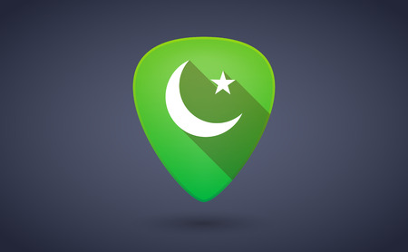 pick: Illustraiton of a green guitar pick icon with an islam sign