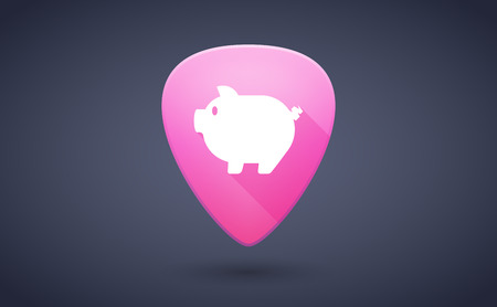 guitar pick: Illustration of a pink guitar pick icon with a pig Illustration