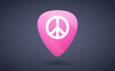 pacifist: Illustration of a pink guitar pick icon with a peace sign Illustration