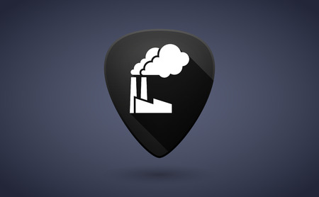 guitar pick: Illustration of a black guitar pick icon with a factory