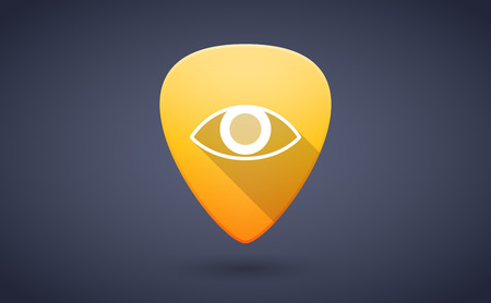 guitar pick: Illustration of a yellow guitar pick icon with an eye