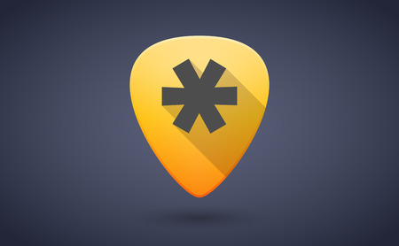 pick: Illustration of a yellow guitar pick icon with an asterisk