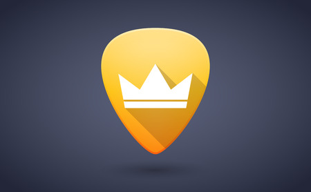 guitar pick: Illustration of a yellow guitar pick icon with a crown Illustration