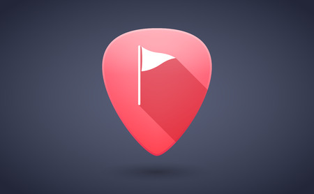 guitar pick: Illustration of a red guitar pick icon with a golf flag