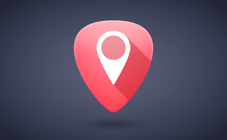 plectrum: Illustration of a red guitar pick icon with a map mark
