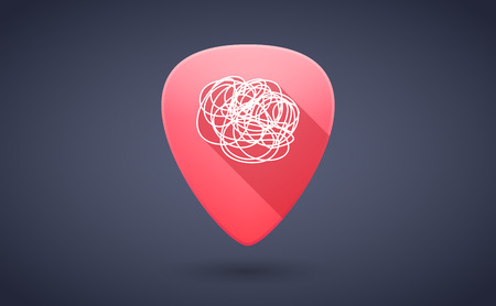 guitar pick: Illustration of a red guitar pick icon with a doodle