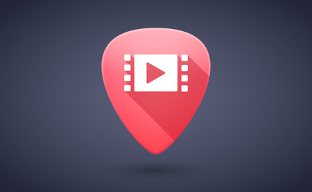 guitar pick: Illustration of a red guitar pick icon with a multimedia sign
