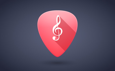 g clef: Illustration of a red guitar pick icon with a g clef