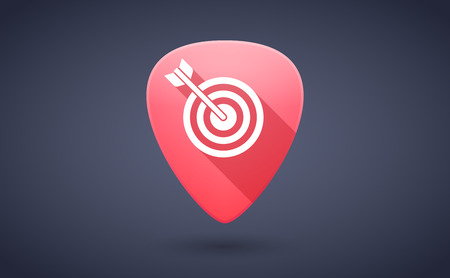 guitar pick: Illustration of a red guitar pick icon with a dart board