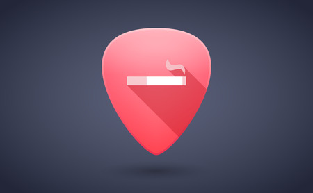 guitar pick: Illustration of a red guitar pick icon with a cigarette Illustration