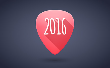 solo  christmas: Illustration of a red guitar pick icon with a 2016 year sign