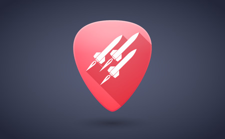 guitar pick: Illustration of a red guitar pick icon with missiles