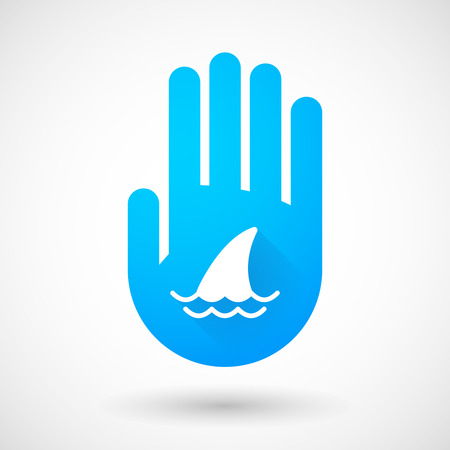 shark fin: Illustration of a blue hand icon with a shark fin