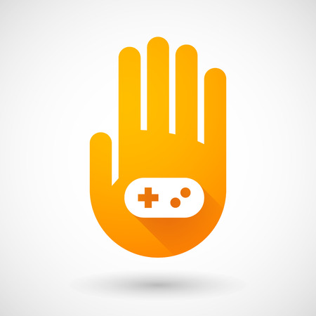 Illustration of an orange hand icon with a game pad Vector