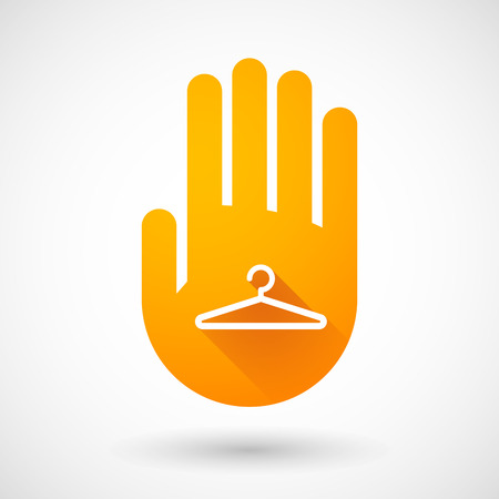Illustration of an orange hand icon with a hanger