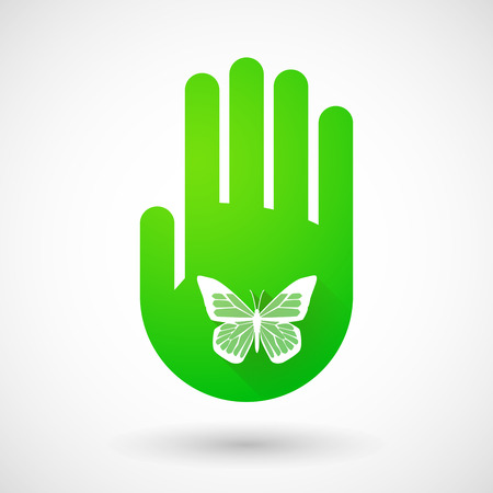 green hand: Illustrqation of a green hand icon with a butterfly