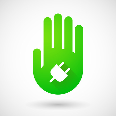 green hand: Illustrqation of a green hand icon with a plug Illustration