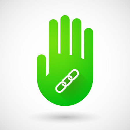 linked hands: Illustrqation of a green hand icon with a chain Illustration