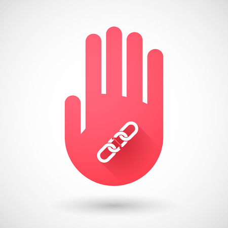 linked hands: Illustration of a red hand icon with a chain