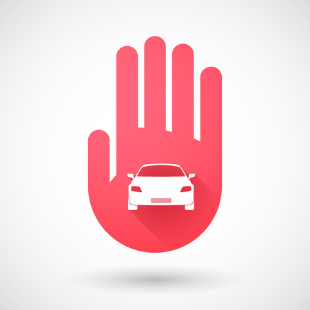 red hand: Illustration of a red hand icon with a car