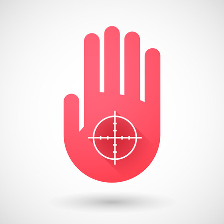 red hand: Illustration of a red hand icon with a crosshair